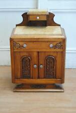 Antique French Art Deco Solid Oak Carved Cabinet Marble Top - Bedside Hall