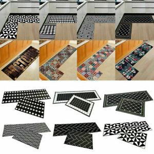 2Pcs Home Kitchen Hallway Floor Mat Water Absorption Non-slip Cushion Rug Decor