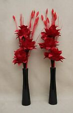 ARTIFICIAL SILK (SET OF 2) RED DRAGON FLOWERS IN BLACK CERAMIC BOTTLE SHAPE VASE