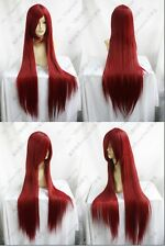 New Long Cosplay Dark RED Straight Wig 1M H85