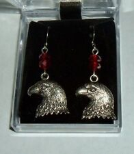 USA EAGLE EARRINGS NIB Silver Plated 2 - 6mm RED Crystals w/ French Hooks