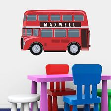 PERSONALISED LONDON BUS KIDS BEDROOM PLAYROOM WALL STICKER ART VINYL MURAL