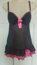 NWT Escante Collection Babydoll Chemise Medium Lingerie Pink Black Ruffle