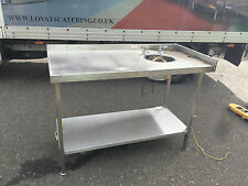 Stainless steel catering table with built in hand wash basin
