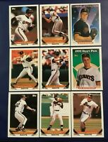1993 Topps SAN FRANCISCO GIANTS Complete Team Set 28 WILL CLARK, URIBE, SNYDER