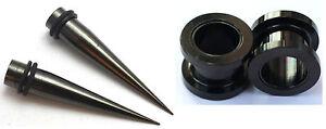 Pair Black Titanium Ear Stretching Tapers Screw Tunnels Gauge 0g 2g 4g 6g 8g 12g