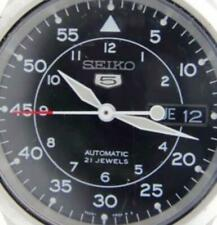 Men Watch Seiko 5 Black Face Skeleton Automatic Analog Day Date 21J WR ST Steel