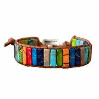Chakra Armband Schmuck Handgemacht Multi Farbe Naturstein Rohr Perlen Leder 9P1