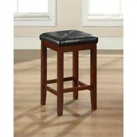 "Crosley 24"" Faux Leather Tufted Counter Stool in Cherry (Set of 2)"
