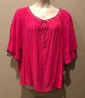 NY Collection Women's Plus Size 2X NEW Pink Wide Short Sleeve Studded V-Neck Top