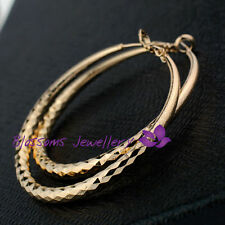 9K 9CT GOLD GF Diamond CUT Womens 5cm Round Large HOOP Pattern EARRINGS ES461