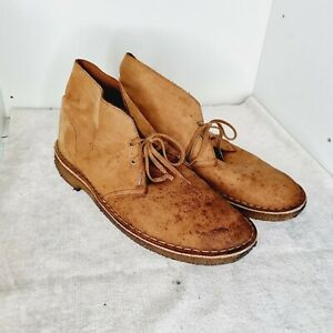 CLARKS STREET LEATHER CHUKKA RUBBER SOLE  TAN BROWN SHOES SIZE UK9 EU43(F)