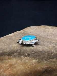 Native American Sterling Silver Turquoise ZUNI Turtle Pin Pendant Set 2805