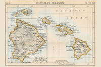 Hawaiian Islands 1883 Historical Antique Style Map Poster 18x12 inch