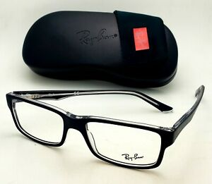 New Ray-Ban Reading Glasses RB 5245 2034 54-17 145 Black & Clear Frames Readers