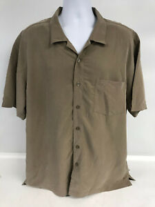 Solitude Men's Button Down Shirt Brown Size XL