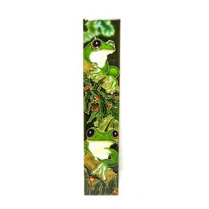 Hand Painted 3D Ceramic Tile Wall Hanging Green Frogs Australian Flora & Fauna