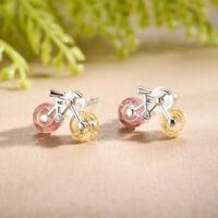 Echt 925 Sterling Silver Tourmaline Gemstones Creative Bicycle Stud Earrings