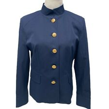 Charter Club women's blazer bomber jacket gold button front blue size 10