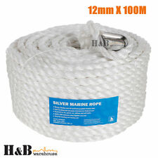 12mm x 100M Anchor Marine Rope Boat Mooring Line Stainless Steel Thimble C0071