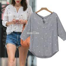 Women  Star Print 3/4 Sleeve  Long Sleeve Top Blouse Mini Maxi Dress T-shirt A++