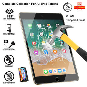 "2 Pack Tempered Glass Screen Protector For iPad 10.2"" (2020) Air-3 Mini 5 (2019)"