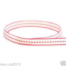 "3/8"" White Stitch Grosgrain Ribbon Korker Bows Bridal Baby Shower DIY Crafts 5y"