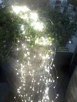 180 Lichter Micro LED Lichterregen Silberdraht Außen Draht Trafo Warmweiß Regen