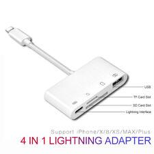 4 in 1 TF Card Reader Camera USB OTG Adapter For iPhone X XS MAX 6 7 8 iPad CA