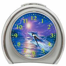 Jumping Dolphins Alarm Clock Night Light Travel Table Desk