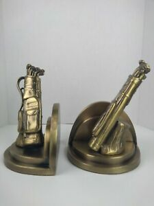 Bookends Golf Bags Clubs Sarsaparilla Brass Metal Book ends Vintage