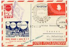 "POLEN 1962 Kab.Ballonpost-Beleg m. Ballonpost-Vignette geflogen mit ""WARSZAWA"""