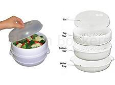2 piani con forno a microonde a vapore verdure Riso Pasta PESCE CUCINA POT Dish 29