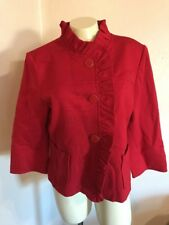 NWOT ST JOHN SPORT Red Ruffle Large Button Coat Size L Euc