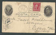 1906 PC UX14 To Coblenz Germany W/2c Uprated On Postal Card Is folded