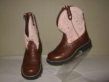 Justin Gypsy Chocolate Ostrich Print/ Pink Leather Cowboy Boots Sz.6.5 B Cute!