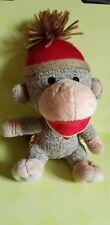 Build a Bear BAB Smallfrys Cuddly Brown SOCK Monkey Plush 2012 red beanie EUC