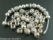 50PCS Tibetan Silver Plated Round Loose Spacer Beads Jewelry Findings DIY ILC