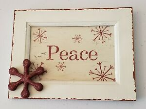 """Peace  Home Decor   8""""×6"""".( Picture size 4""""x6""""). Antique White and barn red"""