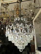 Antique French Big Cage Crystal Chandelier Ceiling Lamp 1940s Hanging Pendant