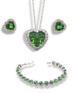 White gold finish Emerald heart created diamond necklace Earrings Bracelet Gift
