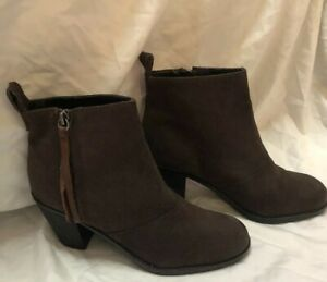 Dolce Vita Womens suede leather Round Toe Ankle Side Zip Boots, Brown, Size US~8