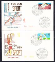 Germany Berlin 1982 FDC covers Sprinting & Volleyball Mi 664-665 Sc 9NB191-192