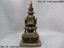 100% Pure Bronze 24K Gold Gild Buddhism Sakyamuni Buddha dagoba Pagoda Tower