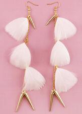 F1703 white Feather golden chain light noble dangle chandelier earrings Hot New
