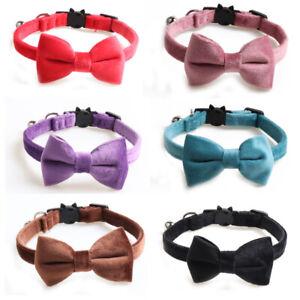 (CC087)  Plain Coloured Velvet Bow Tie Cat Collar, Safety Release, Bow & Bell