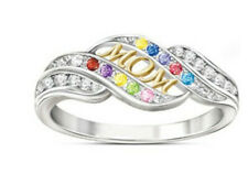 MOM Ring 925 Silver Yellow Gold Heart Wedding  Jewelry Mother Day Gift Sz6-10
