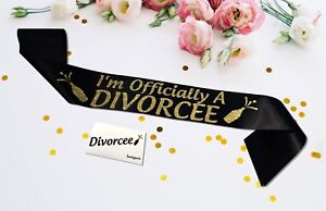 Personalised Officially Divorcee Sash Satin Divorce Party Banner Gold Glitter