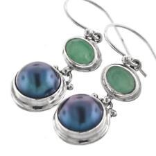 """13/16"""" EMERALD BIWA PEARL 925 STERLING SILVER earrings"""
