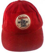 St Louis Cardinals 1987 NL Champions MLB Baseball Corduroy Red Snapback Hat